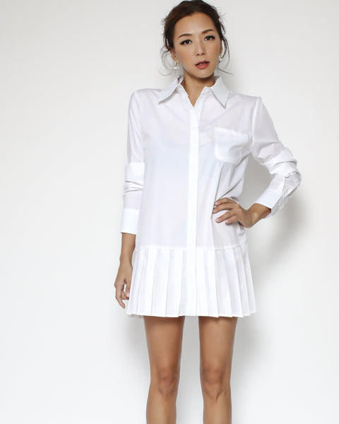 white pleats hem shirt dress
