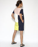 navy with pink & yellow contrast tee dress