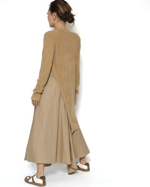 beige ottoman & shirt dress