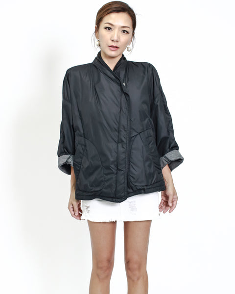 black technic weave jacket with grey cotton inner