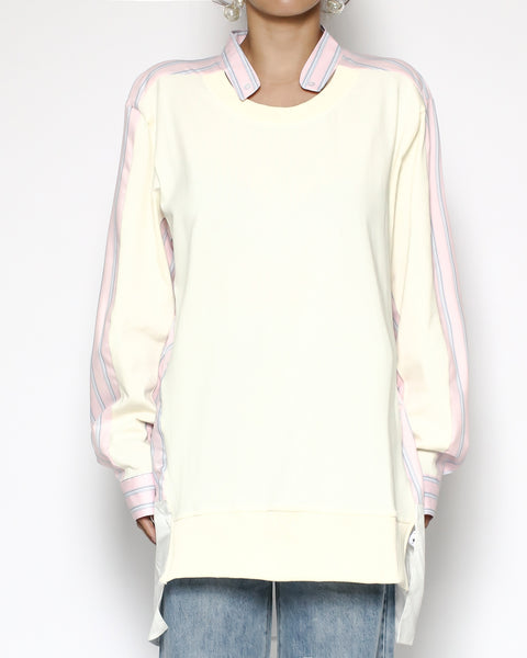 ivory sweat & pink stripes top *pre-order*