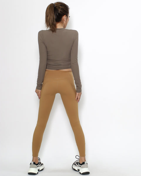 brown ruched sides sports cropped top *pre-order*