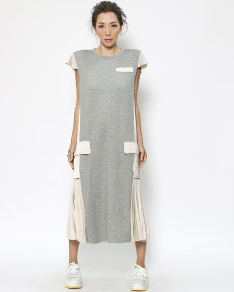 grey tee & ivory slinky pleats sides dress *pre-order*