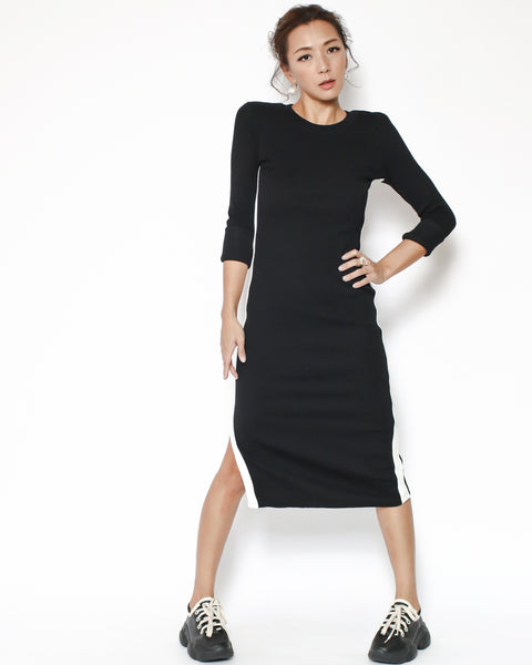 black with white stripe split side midi dress *pre-order*