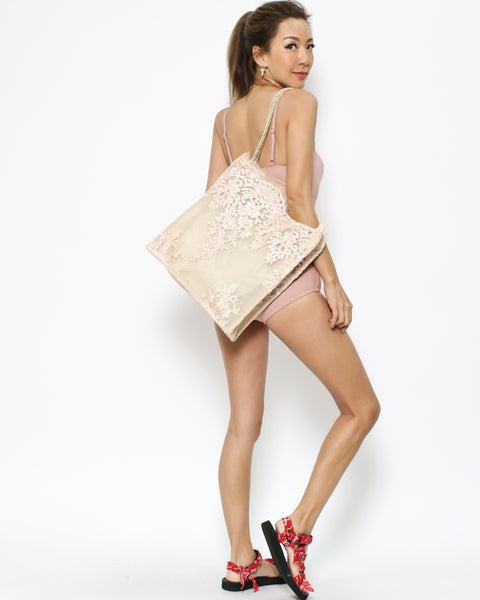 beige & pink lace fabric shopping bag *pre-order*