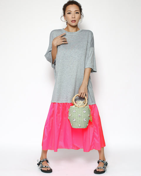 grey tee with neon pink hem longline dress