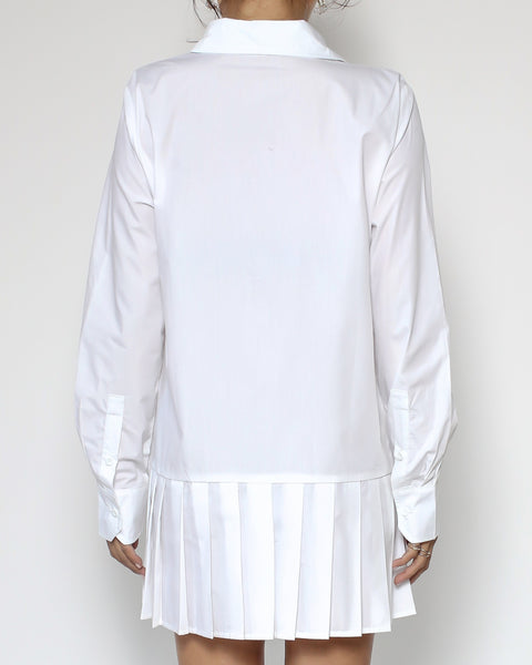 white pleats hem shirt dress *pre-order*