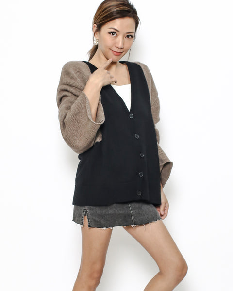 black & brown sleeves cardigan