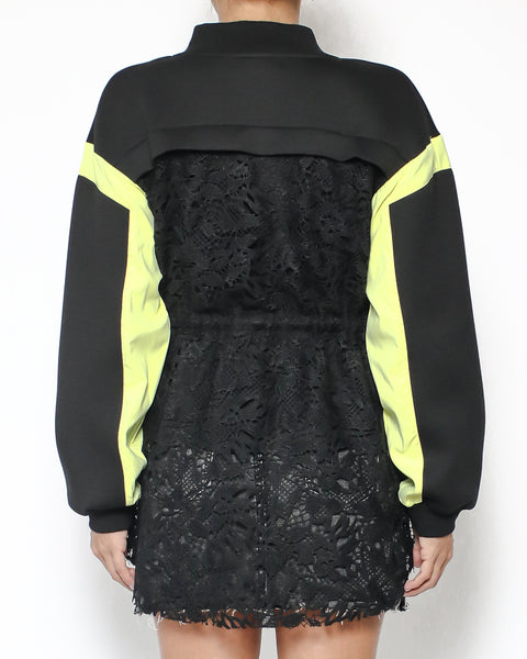 black neon yellow neoprene & lace jacket