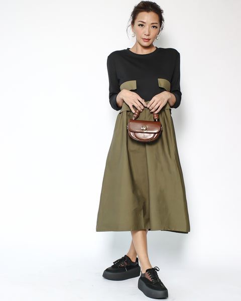 black tee with olive green shirt contrast longline dress