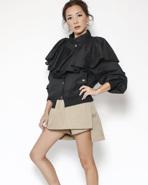 black ruffles collar jacket