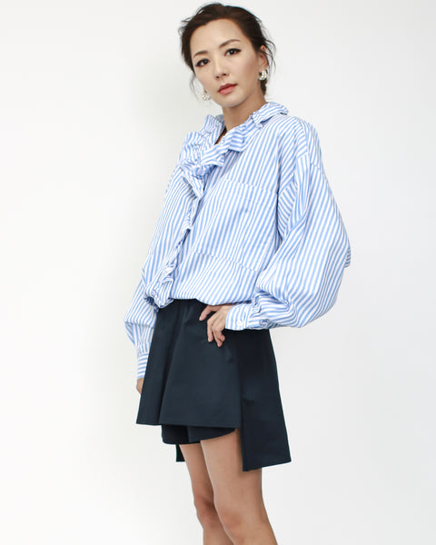 blue stripes with ruffles shirt top
