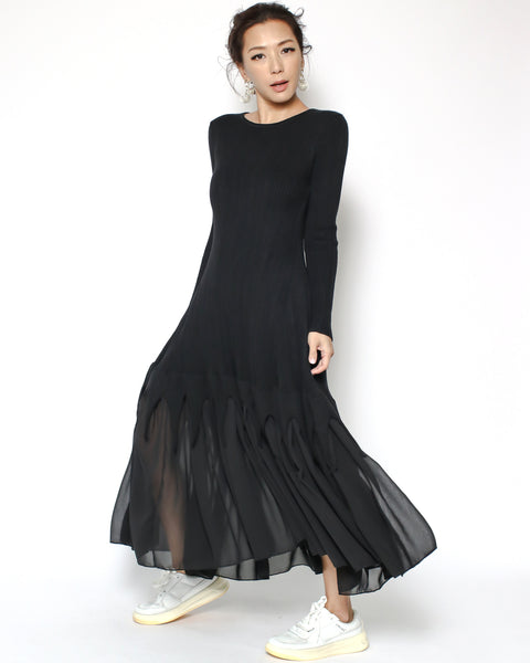 black knitted chiffon hem dress
