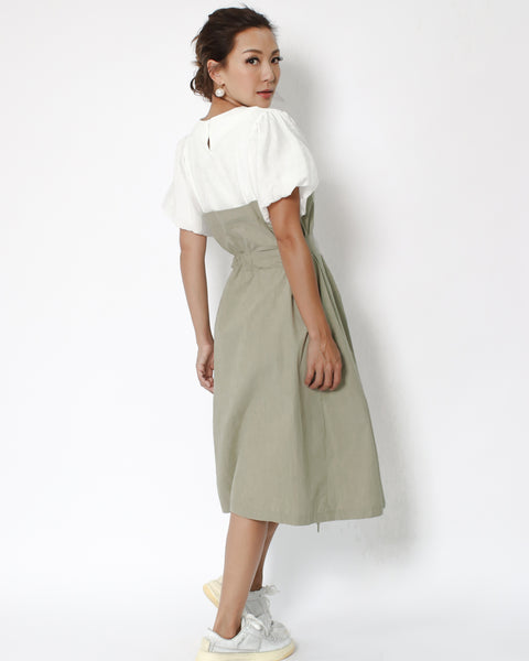 ivory puff sleeves & pale green contrast midi dress with belt *pre-order*