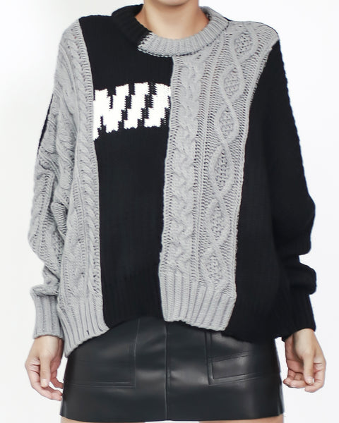 black & grey panel knitted top *pre-order*