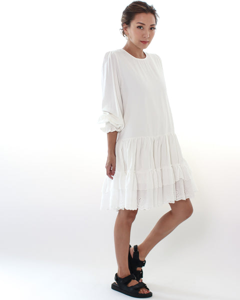ivory crochet hem dress