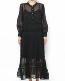 black sheer polka dots longline dress with slip *pre-order*