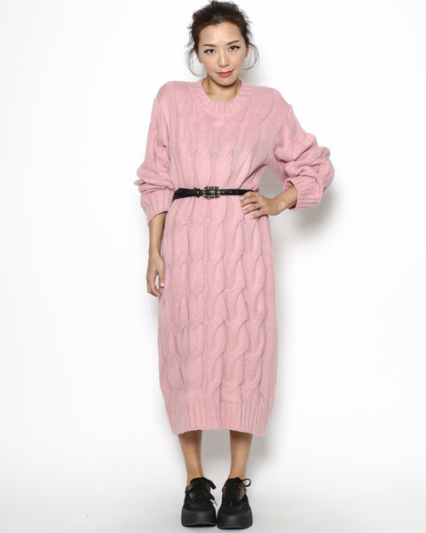 pink cable knitted longline dress *pre-order*