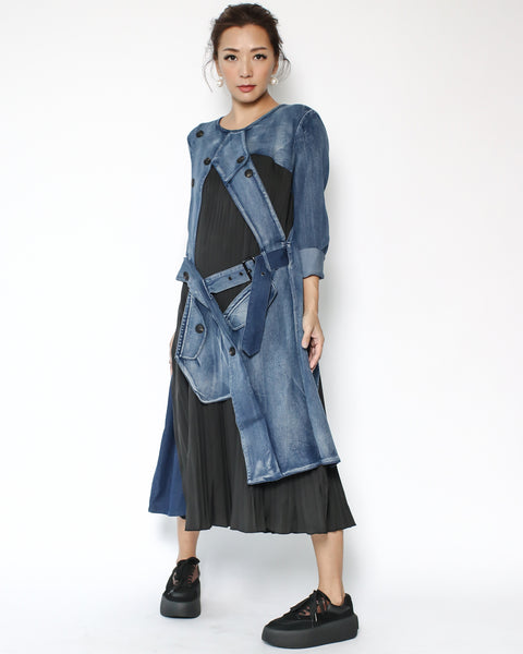 denim with black pleats contrast dress *pre-order*