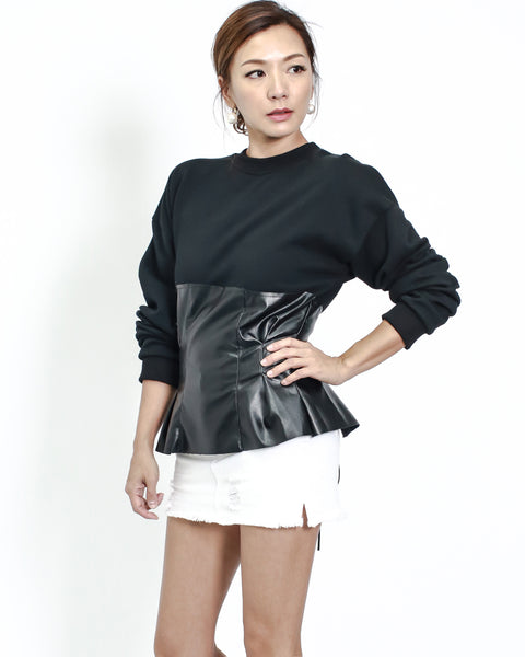 black sweat with PU leather contrast top