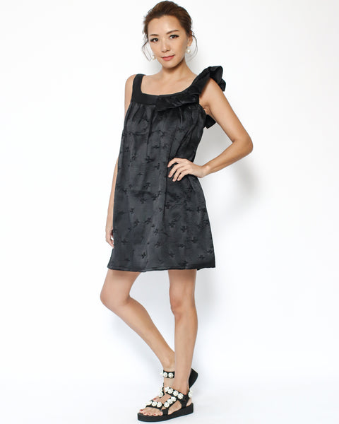 black embossed ruffles strap dress