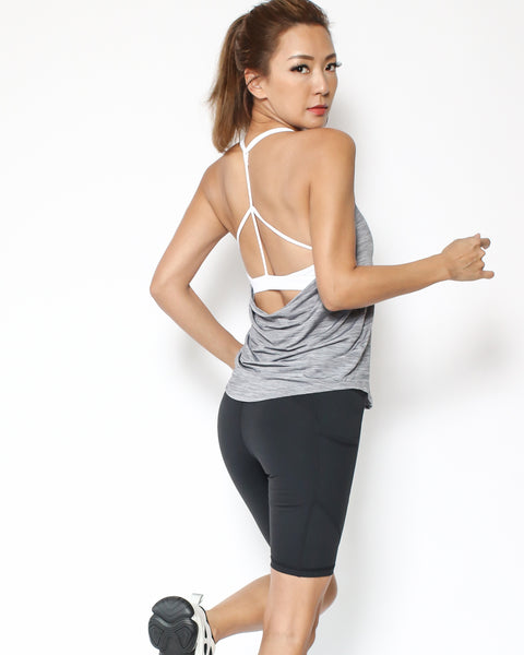 marl grey with white sporty strappy bra together vest *pre-order*