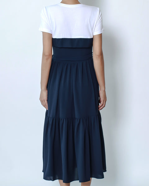 white tee with navu chiffon contrast longline dress with belt *pre-order*