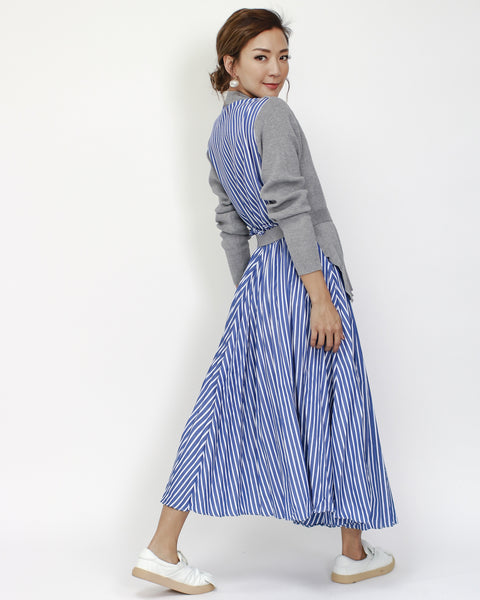 grey knitted & blue stripes pleats midi dress with belt *pre-order*