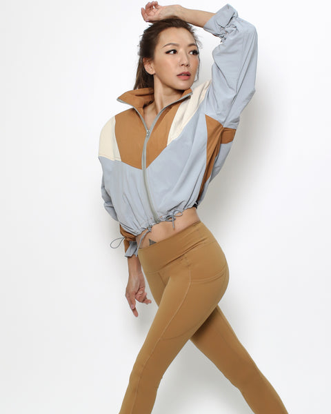 camel blue & ivory cropped sports jacket *pre-order*