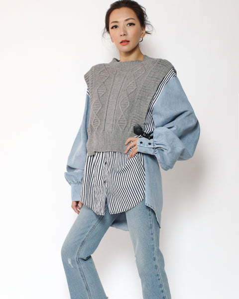 denim & stripes grey knitted layers top *pre-order*