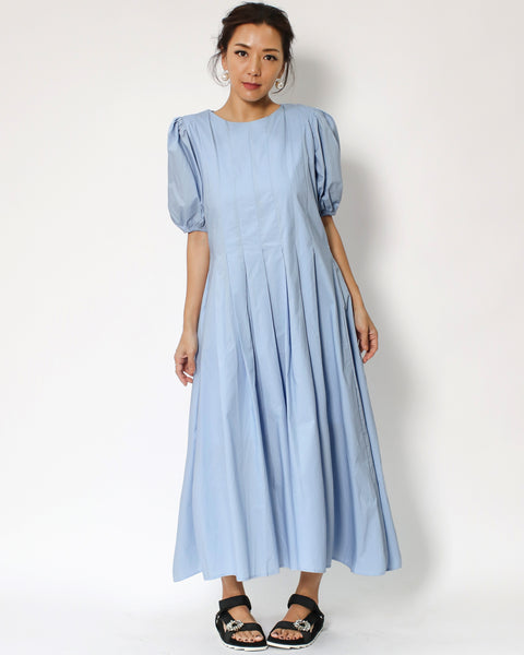 blue puff sleeves longline shirt dress