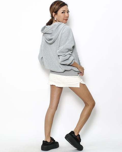 grey pearls fleece hoodie sweatshirt *pre-order*
