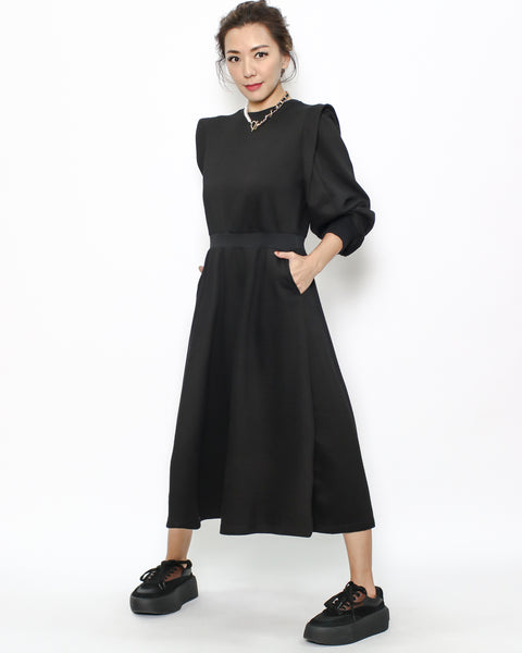 black sweat stretch waist dress