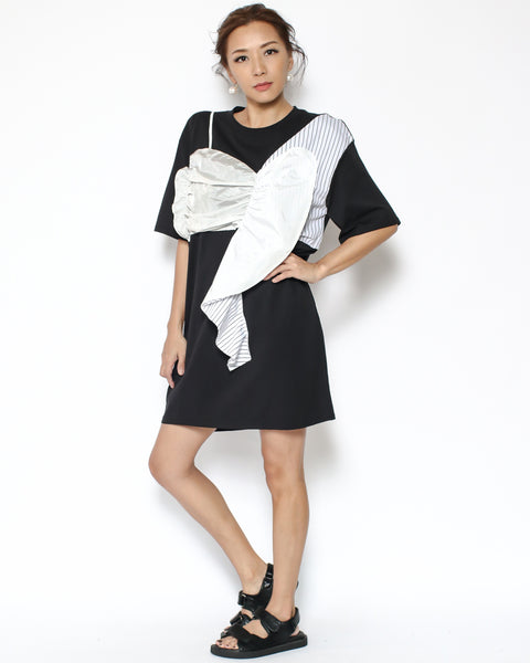 black tee with ivory & stripes contrast dress
