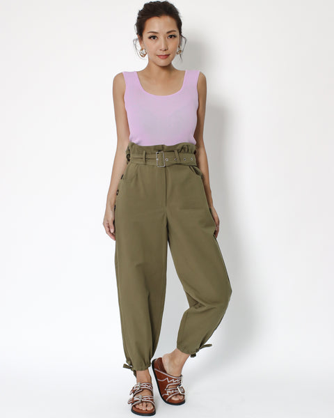 olive green cotton pants with draw-string hems & belt *pre-order*