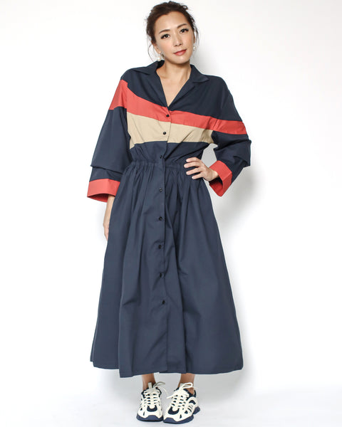 navy & red & beige contrast longline dress