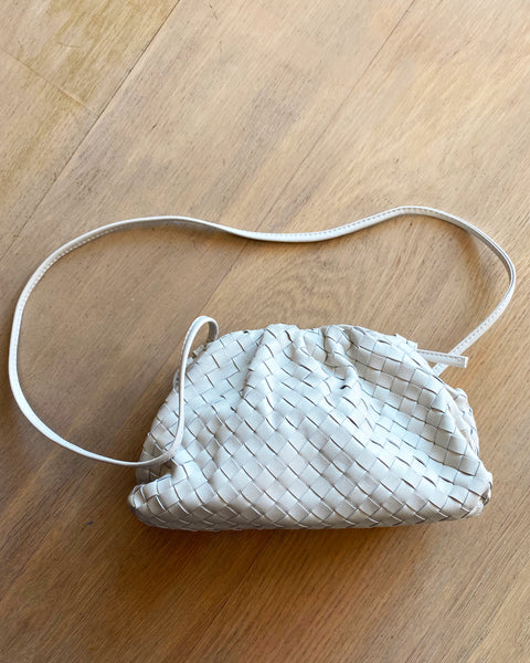 ivory pleats leather cross body bag *pre-order*