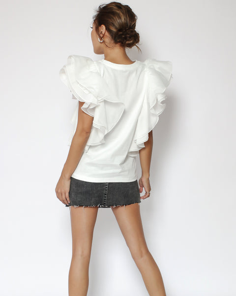 ivory mesh ruffles layers sides tee
