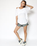 ivory cutout shoulders sporty tee *pre-order*
