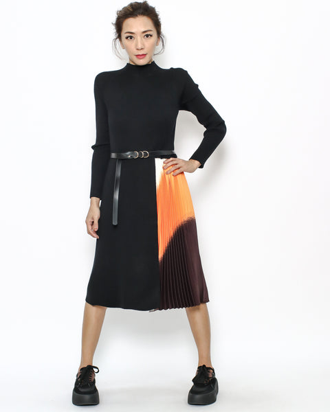 black knitted & colourful pleats dress with belt *pre-order*