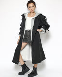 black trench jacket & grey hoodie set with belt*pre-order*
