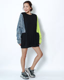 black sweatshirt with neon green & denim sleeve contrast top *pre-order*