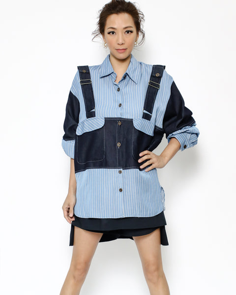 blue stripes & denim shirt