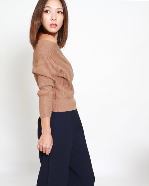 khaki off shoulders wrap knitted top *pre-order*