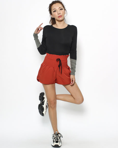 red ruched waist sports shorts *pre-order*