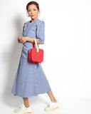blue checkers ruched front longline shirt dress