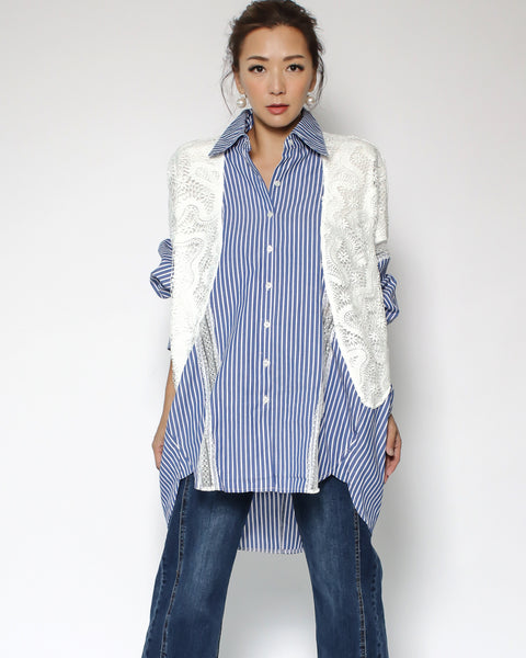 blue stripes with ivory lace contrast shirt *pre-order*