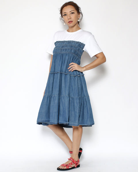 white tee with denim ruched midi dress *pre-order*