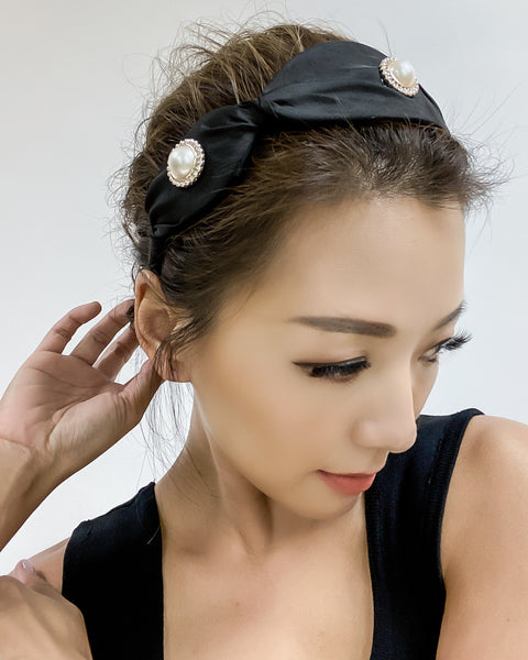 black with pearls asymmetric fabric headband