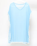 blue sheer pompom cover up dress *pre-order*